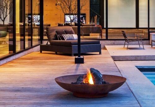Garden Corten Steel Fire Pit Water Bowl Rust Surface Patio Decoration Primrose