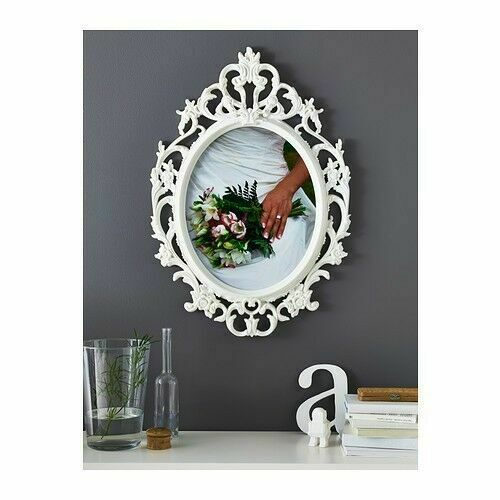 White Plastic Invisible Wall Mount Photo Picture Frame Y6Q1 Hook Nail Hange D3M7