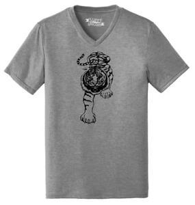 Mens-Running-Tiger-Triblend-V-Neck-Animal-Graphic