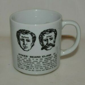 Nice Vintage Graphic Dyke S Beard Elixir Mustache Mug Shaving Mug Rare Ebay