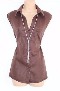 Brown-100-Linen-BEXLEYS-Fitted-Sleeveless-Women-039-s-Shirt-Blouse-Vest-UK-18-UK-20