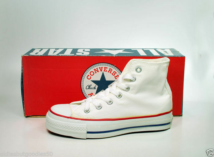 Converse All Star Optical White Hi Top Shoes MADE IN USA 5 Women/3 Men M7650