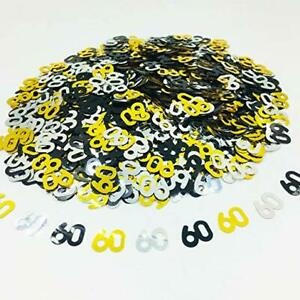 Black-Gold-amp-Silver-60th-Birthday-Party-Table-Confetti-Decorations-Age-Sprinkles