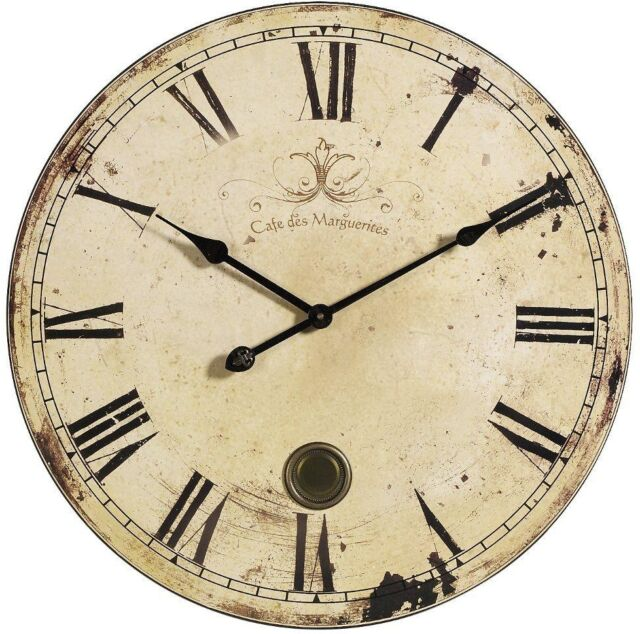 23 Oversize Large Yellow And Cream Antique Vintage Style Wall Clock Home Decor