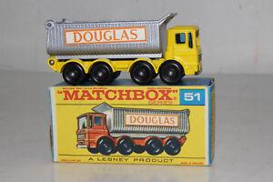 Matchbox #51c Aec 8-wheel Benne Dump Truck, Jaune, Douglas Étiquettes,en Boîte
