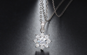 3ct Round Cut Diamond Pendant with Chain Crystal Snowflake 14k White gold Finish