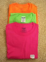 3 Jerzee Junior Small T-shirts, Bright Orange, Pink And Green, Tags Still On