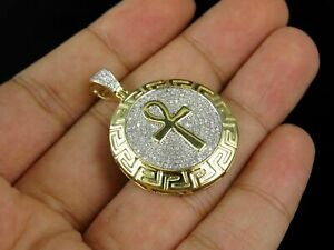 10k-Yellow-Gold-Fn-2-00-ct-Diamond-Greek-Key-Ankh-Cross-Medallion-Charm-Pendant