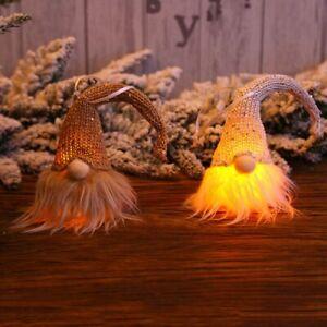 Christmas-Swedish-Gnome-Santa-Plush-Doll-W-LED-Light-Ornament-Xmas-Tree-Decor