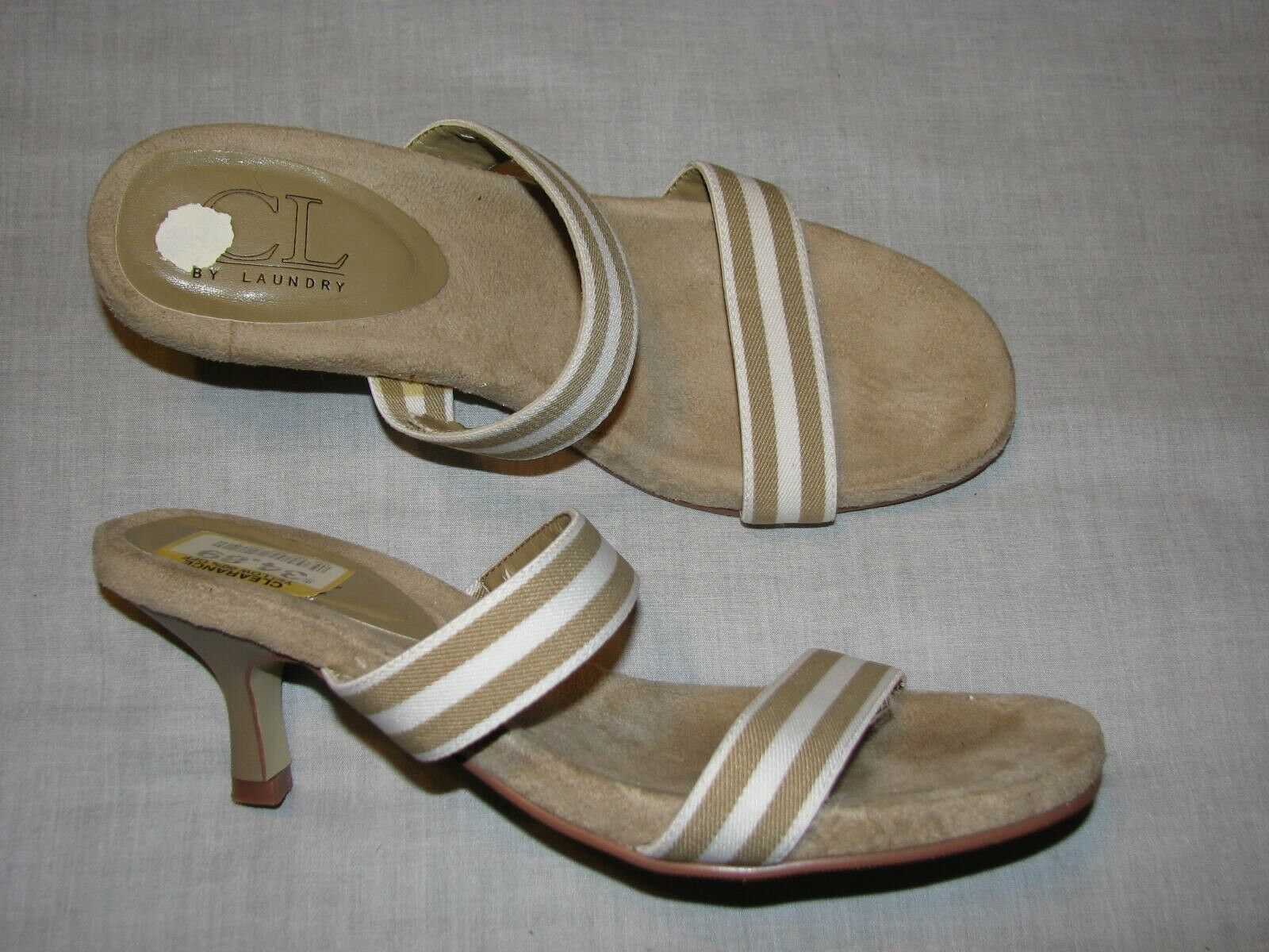 7.5 M CL Chinese Laundry Kitten Brown Tah Striped White Kitten Laundry High Heels Ladies Shoes f25fea