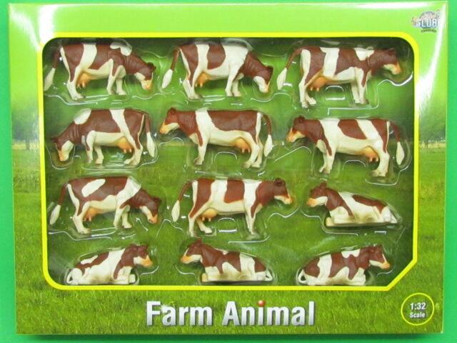 1:32 Kids Globe 571968 Bauernhoftiere Kühe 12 Stück liegend und stehend braun we
