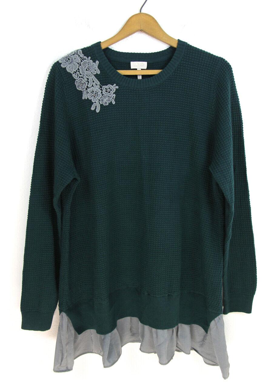 LOGO Lori goldstein Lavish Green Waffle Knit Beaded Applique Sweater Sz XL NEW