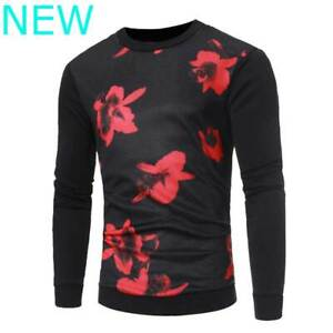 Sweater-T-Shirt-Tops-Floral-O-Neck-Pullover-Jumper-Mens-Long-Sleeve-Casual