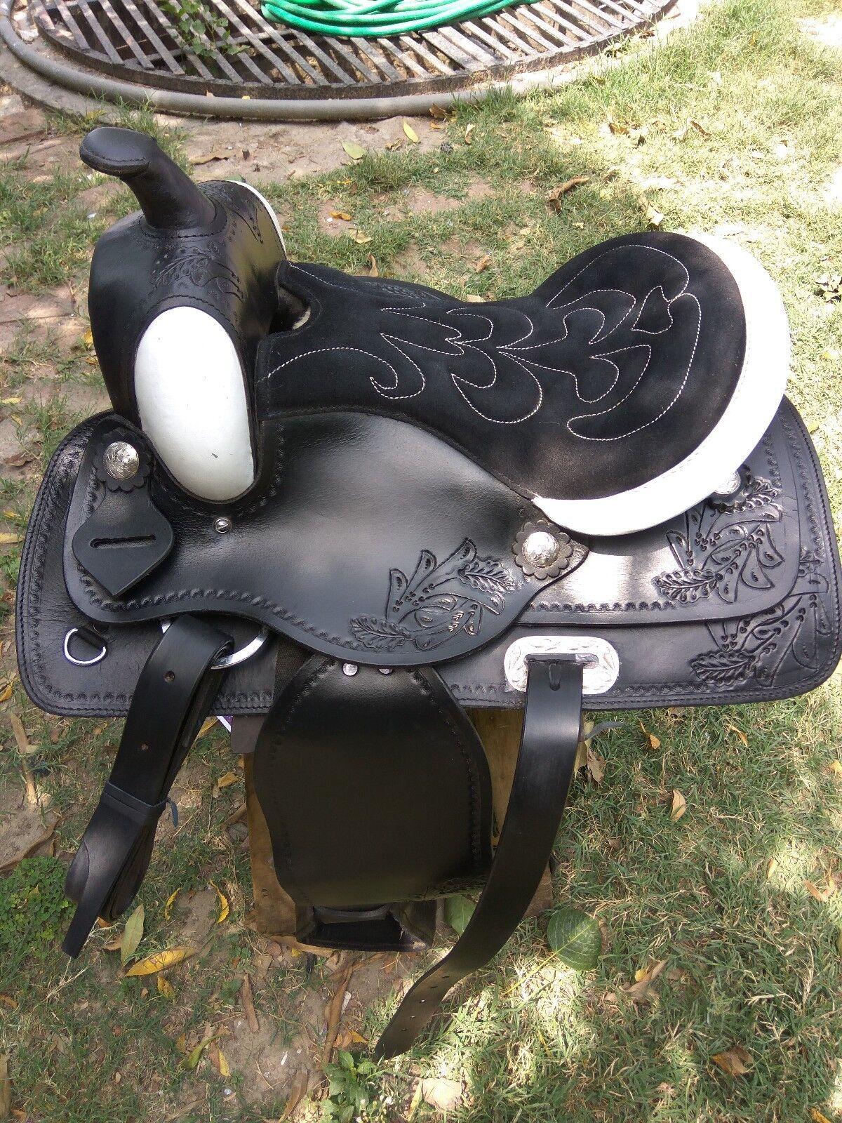 Nuevo blancoo y Negro de cuero silla occidental Talla 14 in (approx. 35.56 cm) a 18