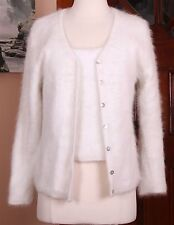 Belldini 60% Angora Twinset Cardigan Sweater & Tank Off White Small Soft Fuzzy!!