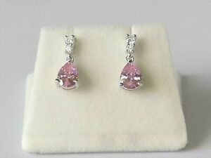 Ladies-Sterling-925-Solid-Silver-Pear-Cut-Pink-and-White-Sapphire-Drop-Earrings