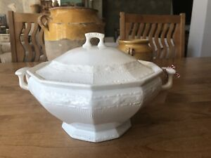 Vintage BELGIAN White IRONSTONE Soup TUREEN w/Lid,SIGNED,Early 1900s