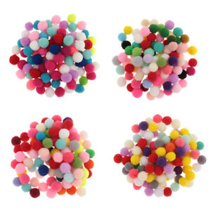 Pack of 140 Craft Pom Poms Assorted Colours Mixed Tinsel Pompoms Buttons Art