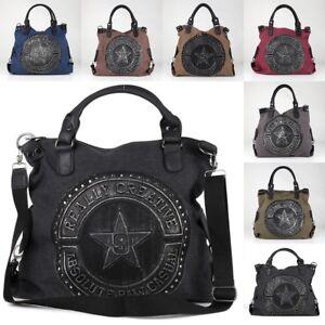 Vintage-Nieten-Silber-Metallic-Stern-Schulter-Tasche-Canvas-Jeans-Stoff-Shopper