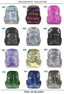 HOLOGRAPHIC-Rave-Backpack-Rucksack-School-Check-Goth-Emo-Skate-Travel-CHOK-Bag