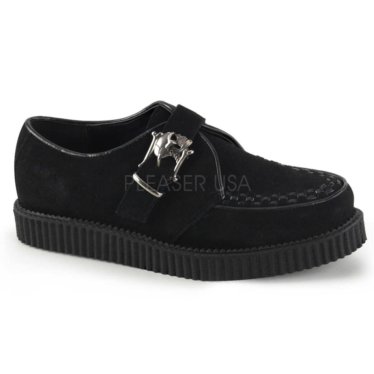 DEMONIA CRE605 BS Women's Black Suede Skull Buckle Creepers Gothic Punk shoes