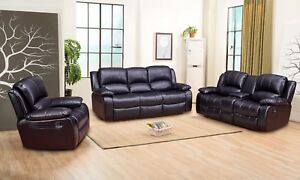 Details about Betsy Furniture 3-PC Bonded Leather Recliner Sofa Set Living  Room in Black 8018