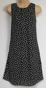 New-Florence-amp-Fred-Tesco-Black-White-Spotted-Shift-Summer-Dress-8-22