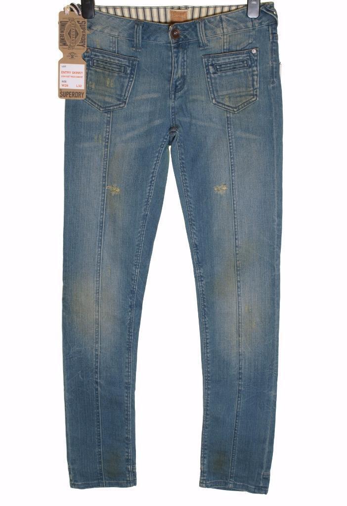 New Women's Superdry Entry Skinny Denim Stretch Jeans W28
