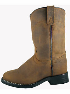 Smoky-Children-039-s-Kid-039-s-Oiled-Distress-Brown-Leather-Western-Cowboy-Boot