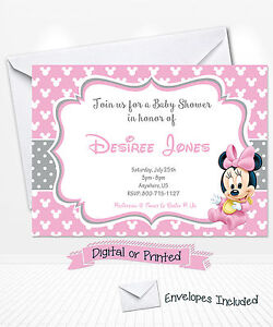 Printed baby minnie mouse baby shower invitations minnie party image is loading printed baby minnie mouse baby shower invitations minnie filmwisefo