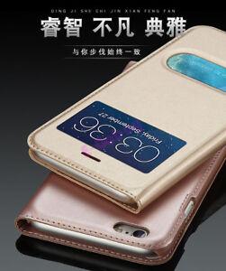De-Luxe-Fenetre-Vue-Clapet-PU-Smart-Housse-Etui-Cuir-pour-IPHONE-Se-6-7-Plus-X