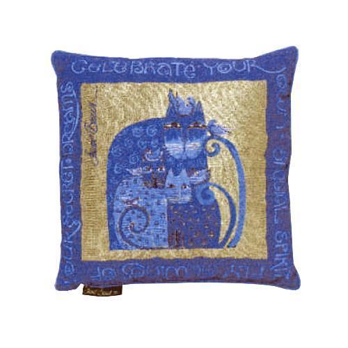 Laurel Burch Indigo Blue Gold Feline Cat Decorative Tapestry Throw Pillow NWT