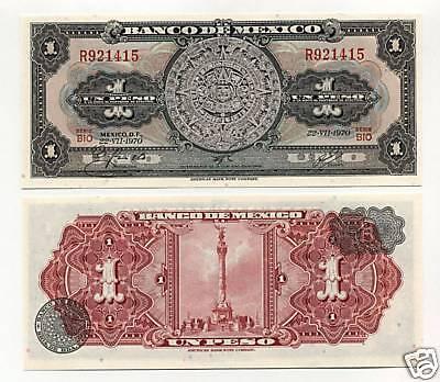 North & Central America Mexico 1 Peso 22-7-1970 Pick 59.l Unc Uncirculated Banknote Serie Bio