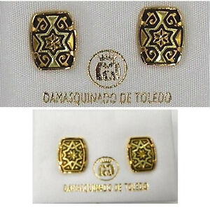 Damascene-Gold-Star-of-David-Rectangle-Earrings-by-Midas-of-Toledo-Spain-3115