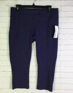 New Balance x J.Crew Womens Size L Scallop Capri Navy Blue Fitted Knit Leggings