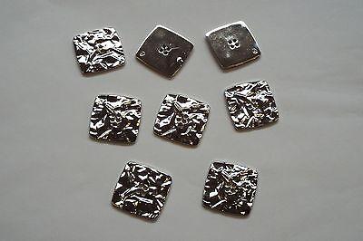 8pc 20 mm Bright Silver froissé métal effet Coat Cardigan Knitwear Bouton 3682