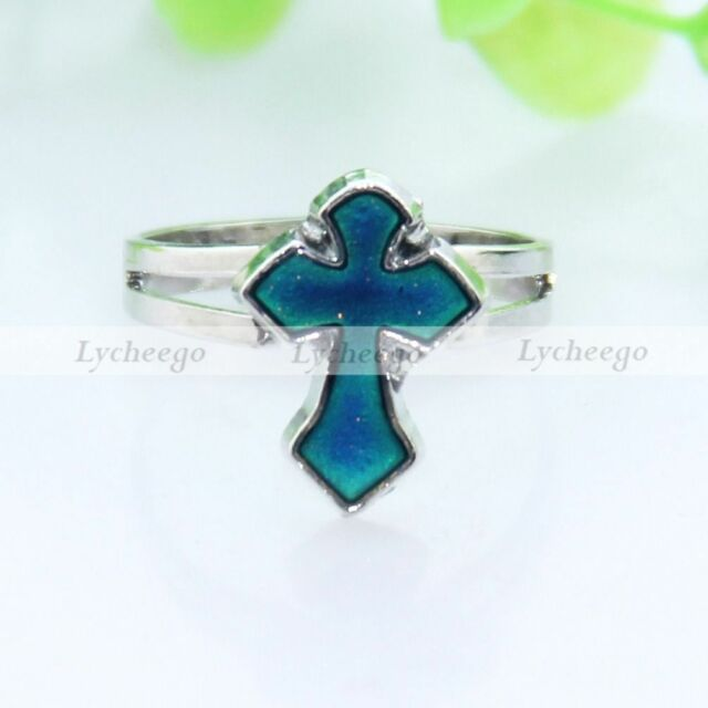 1X Cross Mood Ring Adjustable Emotion Feeling Color Changing Ring Free Shipping