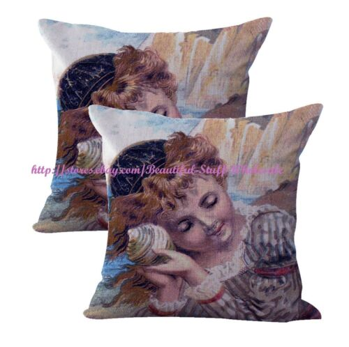 US SELLER-2pcs decorative bedroom  girl holding seashell cushion cover