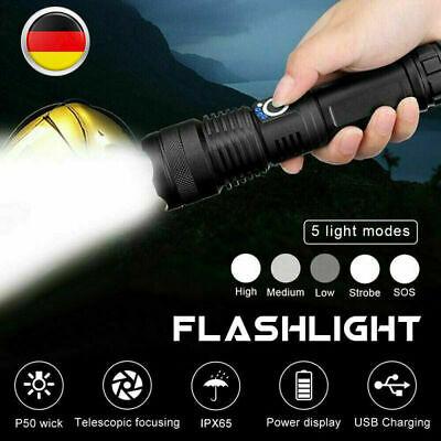 LED USB Kabel Taschenlampe 500000 Lumen XHP50 5Modes Außen Innen Lampe