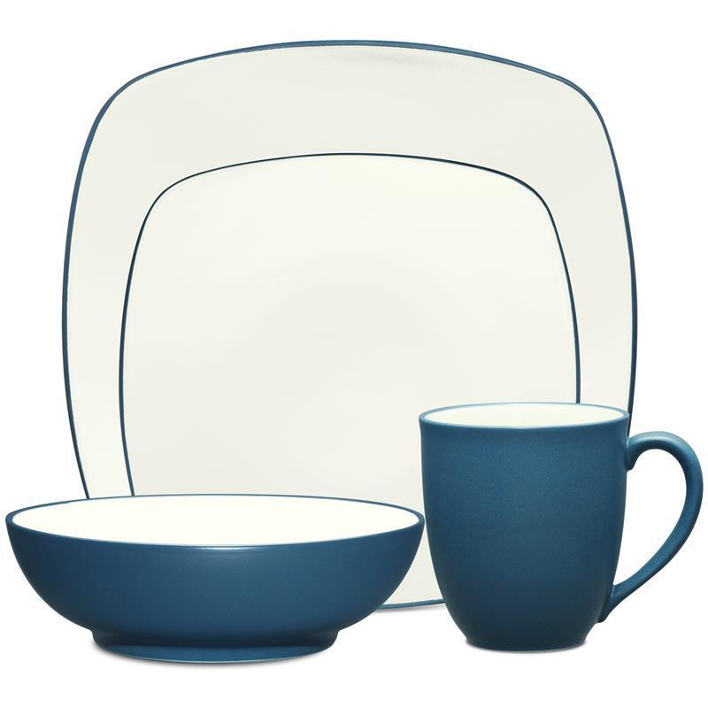 NORITAKE CouleurWAVE carré bleu 48Pc Dinnerware Set, service pour 12