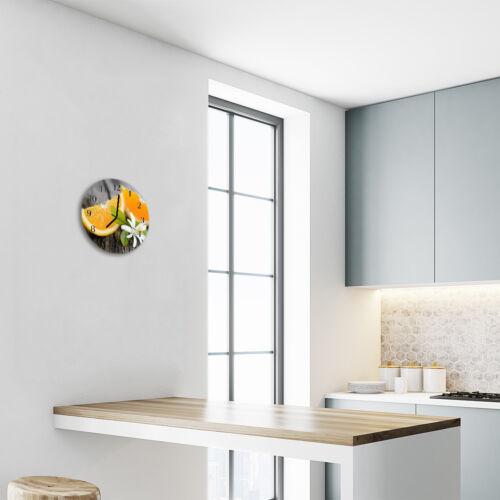 Echt-Glas Uhr Wanduhr Rund Küche 30 cm Deko Zitrone gelb