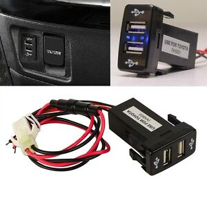 dual usb 2 port charger car blue led light for toyota. Black Bedroom Furniture Sets. Home Design Ideas