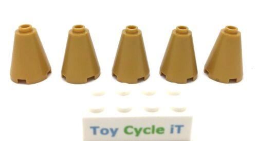 LEGO 5 x Pearl Gold Cône 2x2x2-partie 3942-Open stud-Neuf