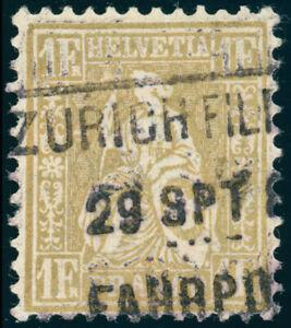 SCHWEIZ-1881-MiNr-44-sauber-gestempelt-Attest-Hermann-Mi-1100