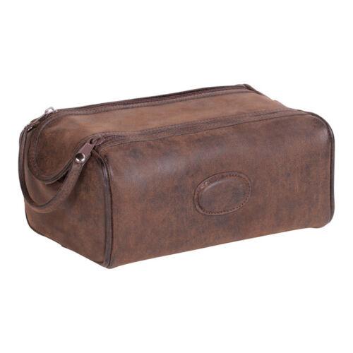 Montana Twin Zip boîte forme en cuir synthétique marron homme lavage Sac de voyage voyage