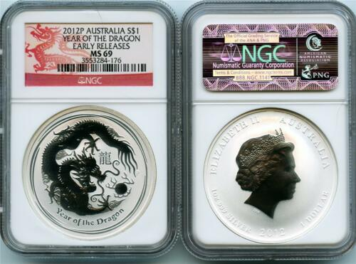 2012 P Australian 1 oz NGC Graded MS 69 Early Release $1 Silver Dragon