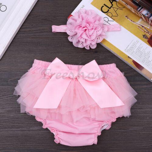 2Pcs Newborn Baby Cute Girl Ruffle Pants Bow Bloomer Shorts Photo Shoot Props