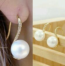 #1144 Gold Plated Crystal Pearl Earrings For Women Zinc Alloy Faux Pearl Earring