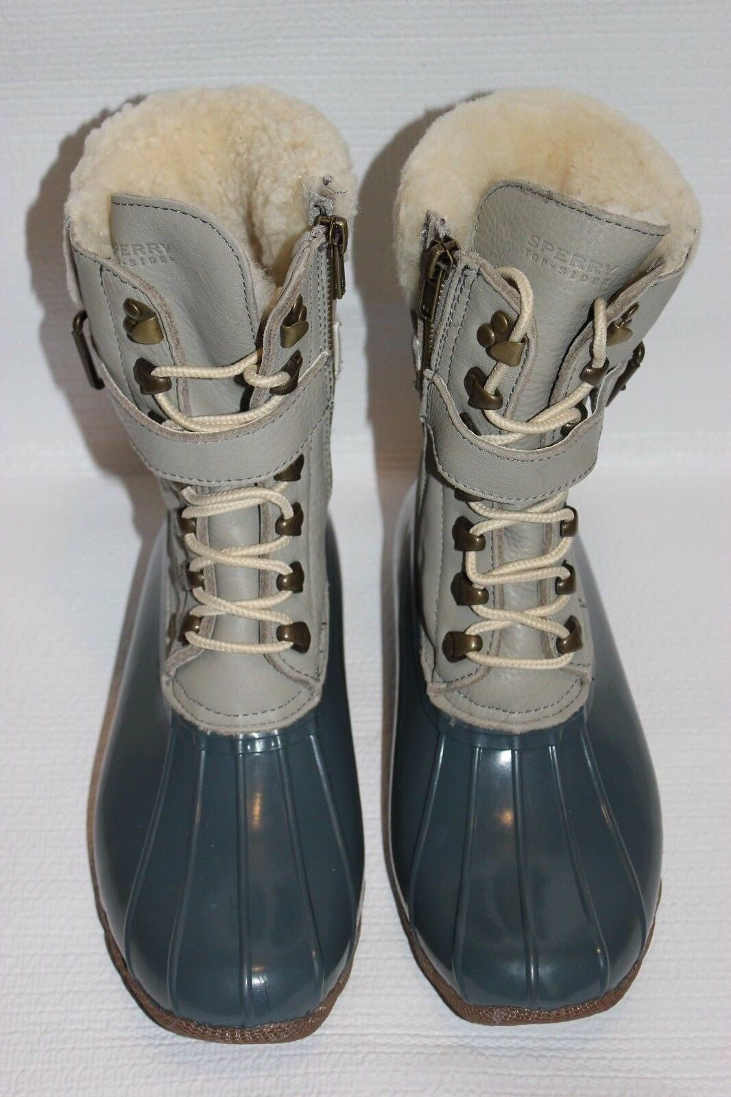 J CREW Sperry Top-Sider Leather Shearwater Boots 7M orchid grey ivory e2598