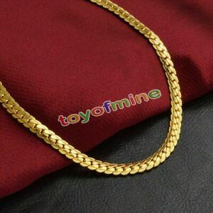 18k-Goldkette-Kette-Edelstahl-gold-Halskette-massiv-Panzerkette-Herren-50-cm-NEU